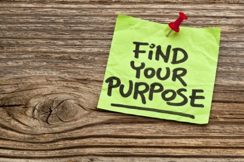 find your purpose  - motivational reminder - handwriting on stic